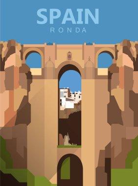 flat cartoon Ronda city