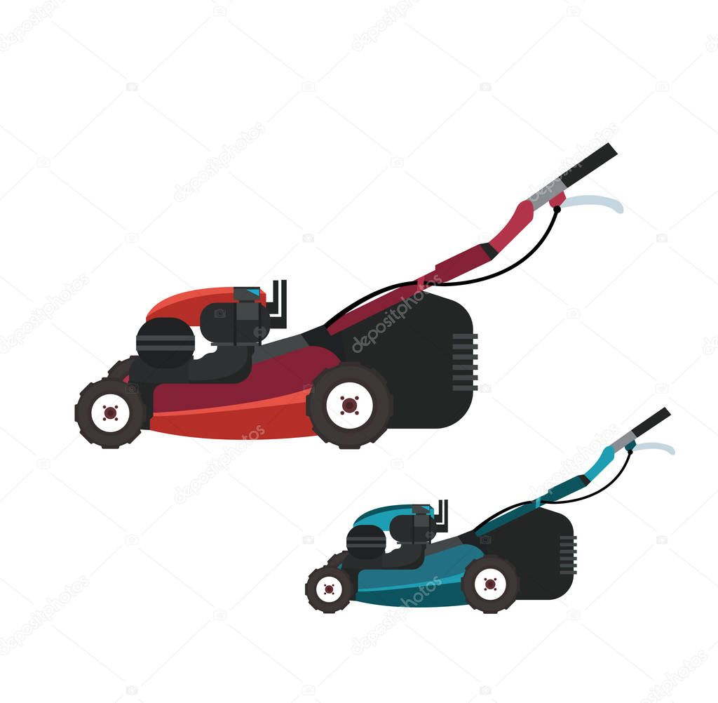 mowing machines on white