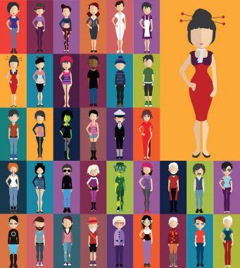 Set of human avatars