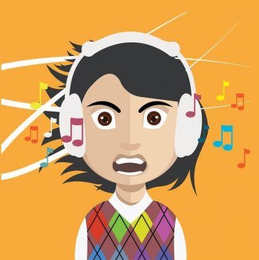 Female user avatar with headphones icon