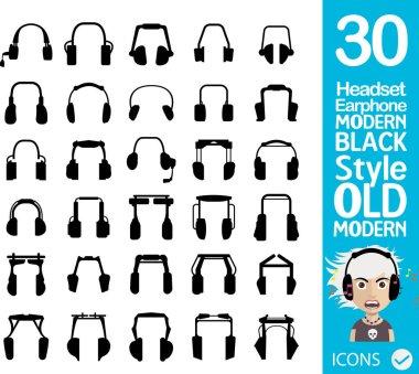 Set of modern headphones icons