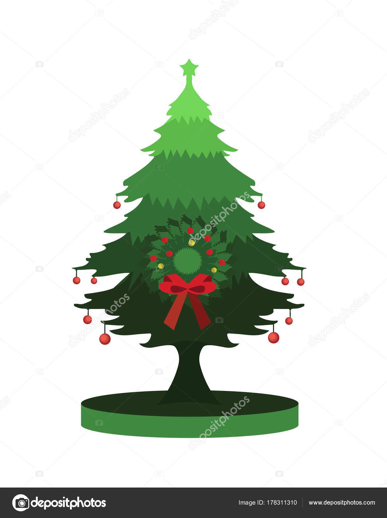 christmas pine tree with field platform stock vector