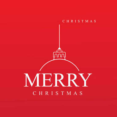Red Christmas ball with text on red background, vector illustration