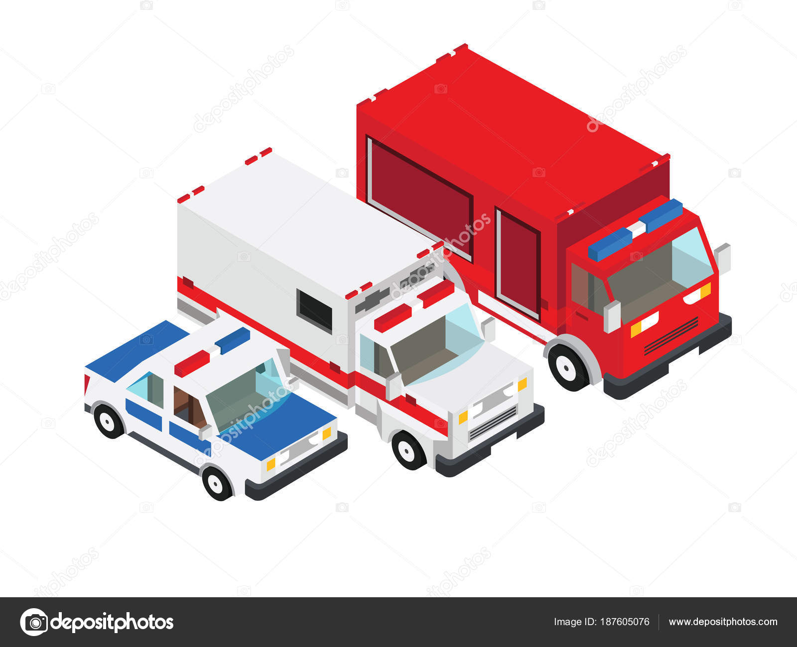 Itfaiye Arabası Ambulans Kamyon Polis Kamyon Vektör çizim Stok