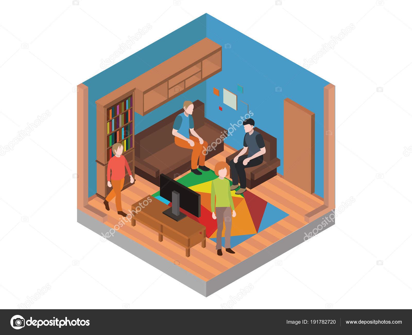 Isometrische Wohnzimmer Mit Isometrischen Menschen Tisch Und Mobel