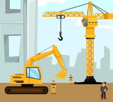 Construction and building banner. Vector flat cartoon illustration