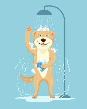 Dog take shower. Dog grooming. Dog service. Vector flat cartoon illustration