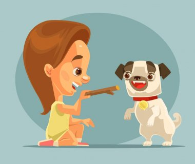 Little girl child character training dog puppy character with bone. Best friends. Vector flat cartoon illustration
