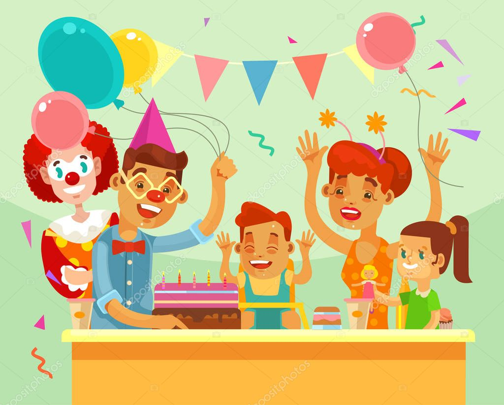 Children Happy Birthday Family Party Vector Flat Cartoon