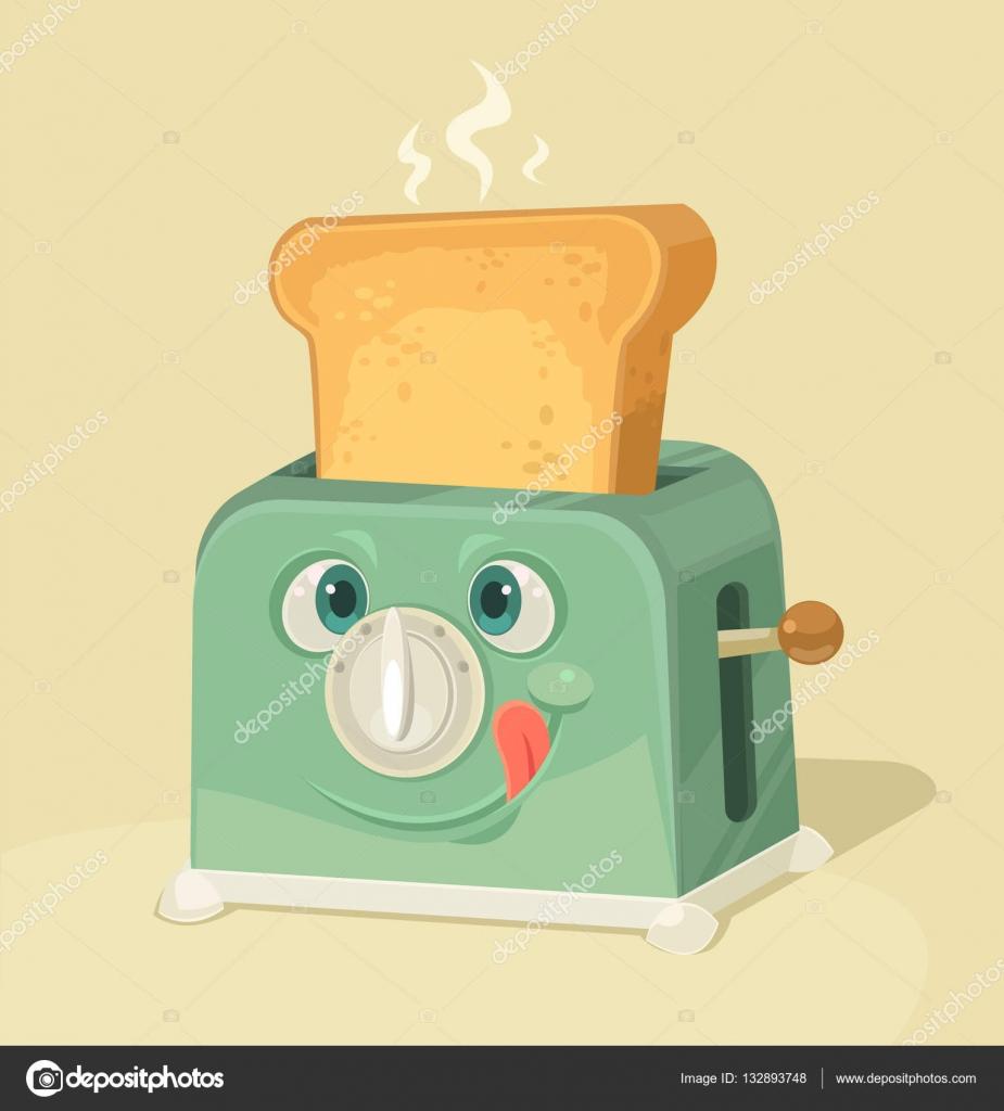 かわいいトースター文字とパンのトーストベクトル フラット漫画