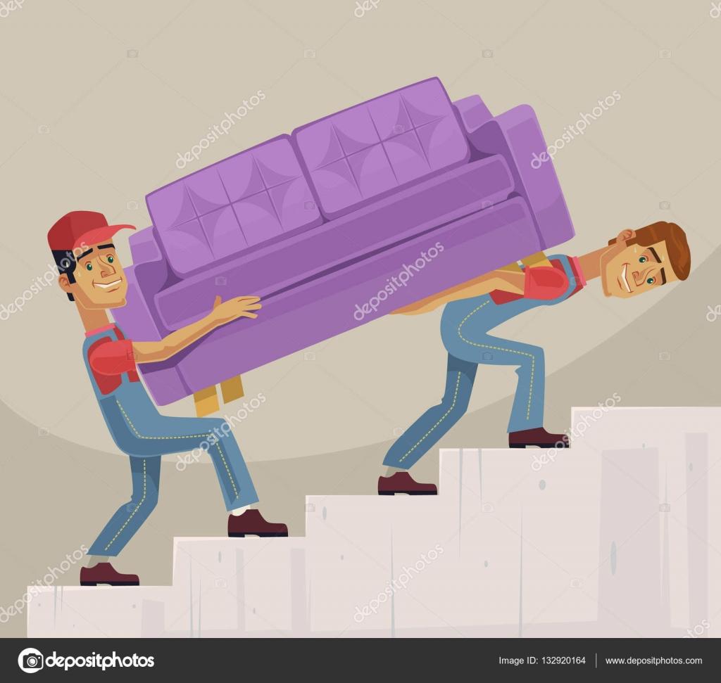 Sof de cargador dos hombres caracteres mover ilustraci n for Mueble animado