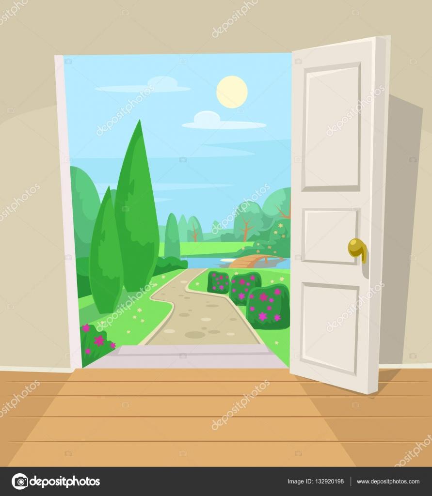 Ppna d rren till tr dg rden vektor tecknad illustration for Porte ouverte dessin