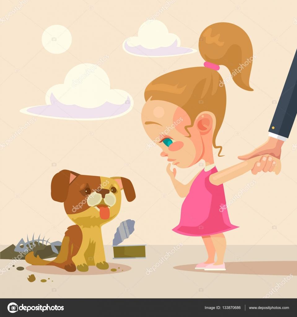 Petite Fille Et Chien Sans Abri Illustration De Dessin