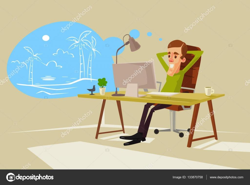 caract re de travailleur de bureau r ver de vacances illustration de dessin anim plane. Black Bedroom Furniture Sets. Home Design Ideas