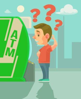 Man character try using ATM. Vector flat cartoon illustration