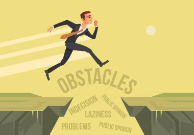 Businessman character jumps over problems. New start up project. Vector flat cartoon illustration