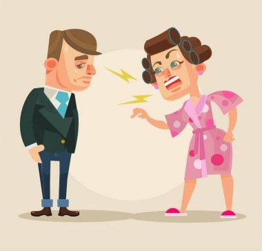 Angry wife character yelling at husband. Vector flat cartoon illustration