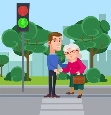 Young man character help old woman cross the street. Vector flat cartoon illustration