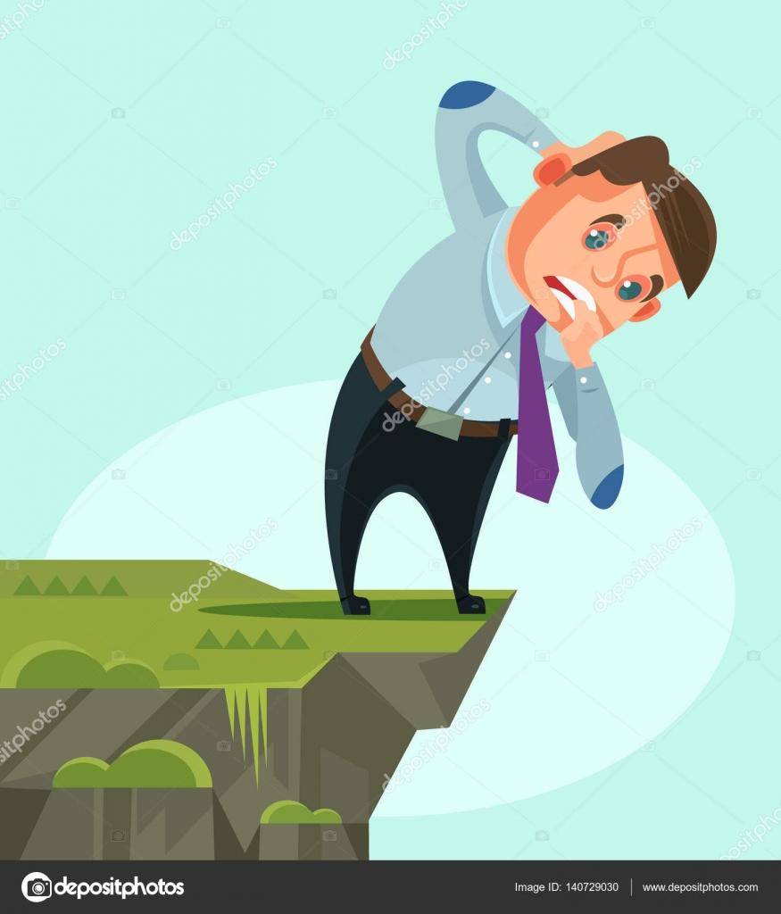 ビジネスマンの文字を見下ろしてベクトル フラット漫画イラスト