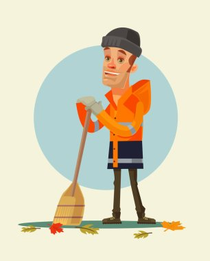 Happy smiling yardman character sweeping leaves. Vector flat cartoon illustration