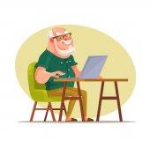 Ein älterer Mann plaudert im Netzwerk. Vektor flache Cartoon-Illustration