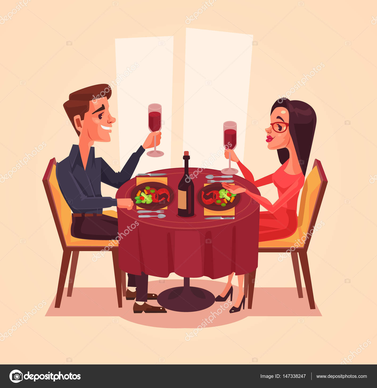 Happy couple lovers man and woman characters having dinner for Table 16 personnes