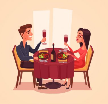Happy couple lovers man and woman characters having dinner with wine. Vector flat cartoon illustration
