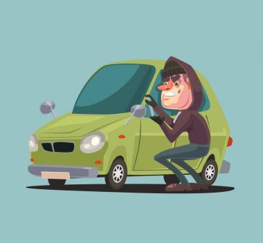 Robber man character steals and breaking car door. Vector flat cartoon illustration