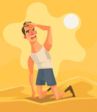 Hot weather and summer day. Tired unhappy man character in desert. Vector flat cartoon illustration