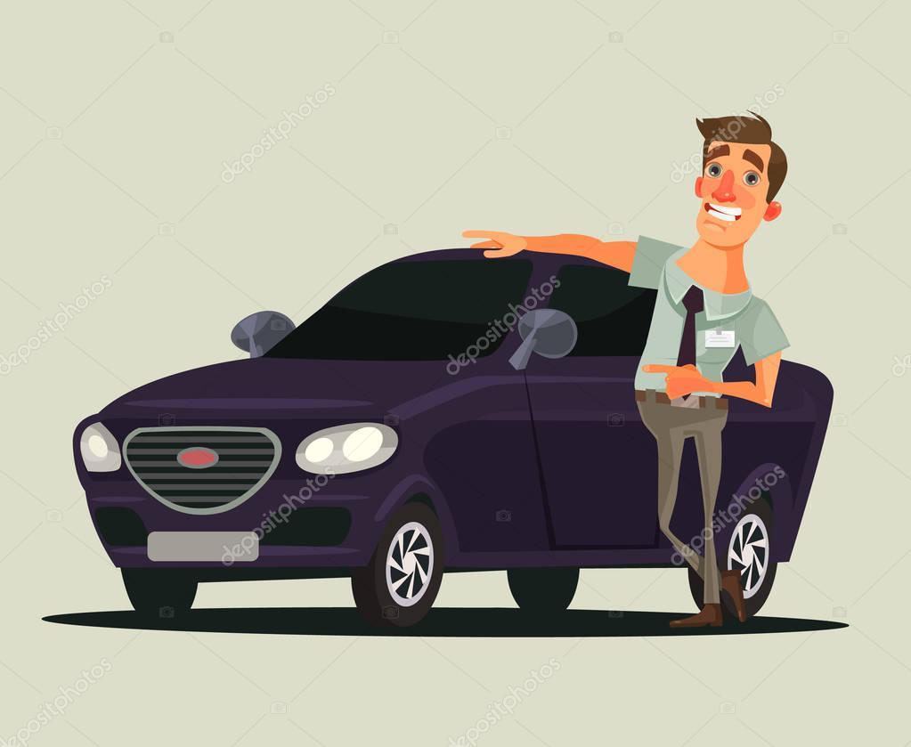 heureux souriant concessionnaire vendeur homme caract re montrant nouvelle voiture illustration. Black Bedroom Furniture Sets. Home Design Ideas