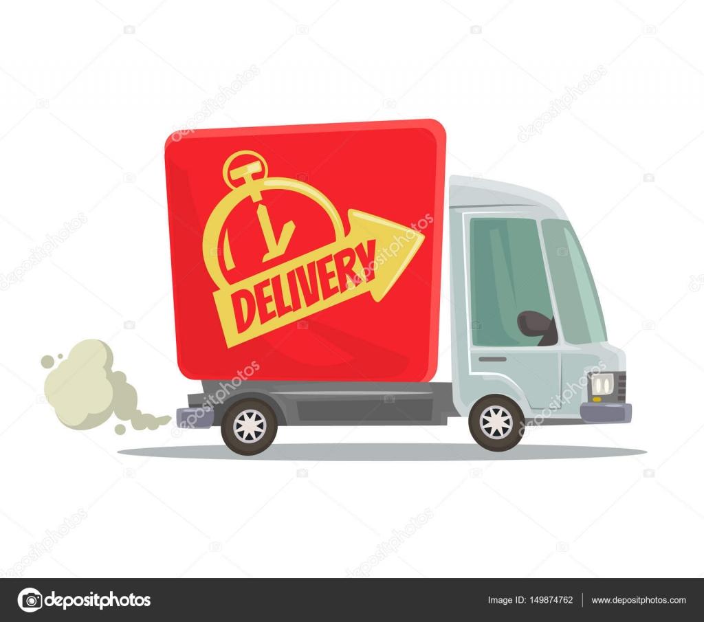 camion de livraison rapide isol voiture rouge en mouvement vue de c t illustration de dessin. Black Bedroom Furniture Sets. Home Design Ideas
