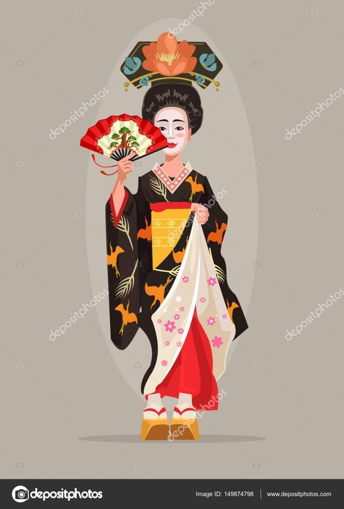 Carácter De Geisha Japonesa Hermosa Sostenga El Ventilador