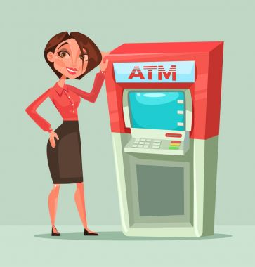 Happy smiling bank consultant manager woman standing next to ATM. Vector flat cartoon illustration