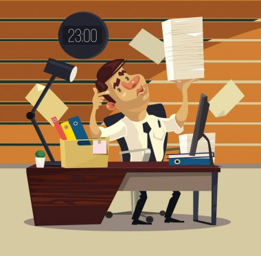Unhappy tired office worker businessman has many works. Vector flat cartoon illustration