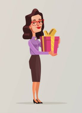 Woman in business suit holds big gift box. Vector flat cartoon illustration