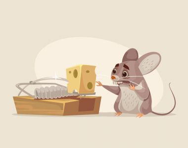 Scared mouse character trying to get cheese out of mousetrap. Vector flat cartoon illustration