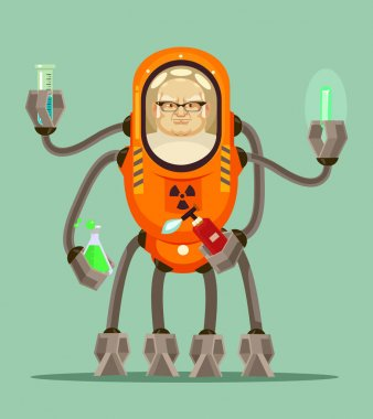 Happy smiling smart mad scientist man robot cyborg character holds flask with liquid in his iron hands. Vector flat cartoon illustration