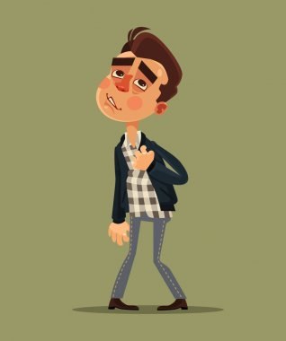 Young man have heart attack. Vector flat cartoon illustration stock vector
