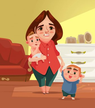 Sad unhappy tired mother character with many children. Vector flat cartoon illustration