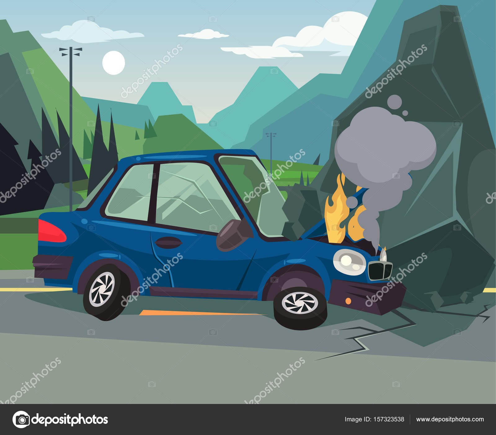 Car accident. Vector flat cartoon illustration — Stock Vector ...