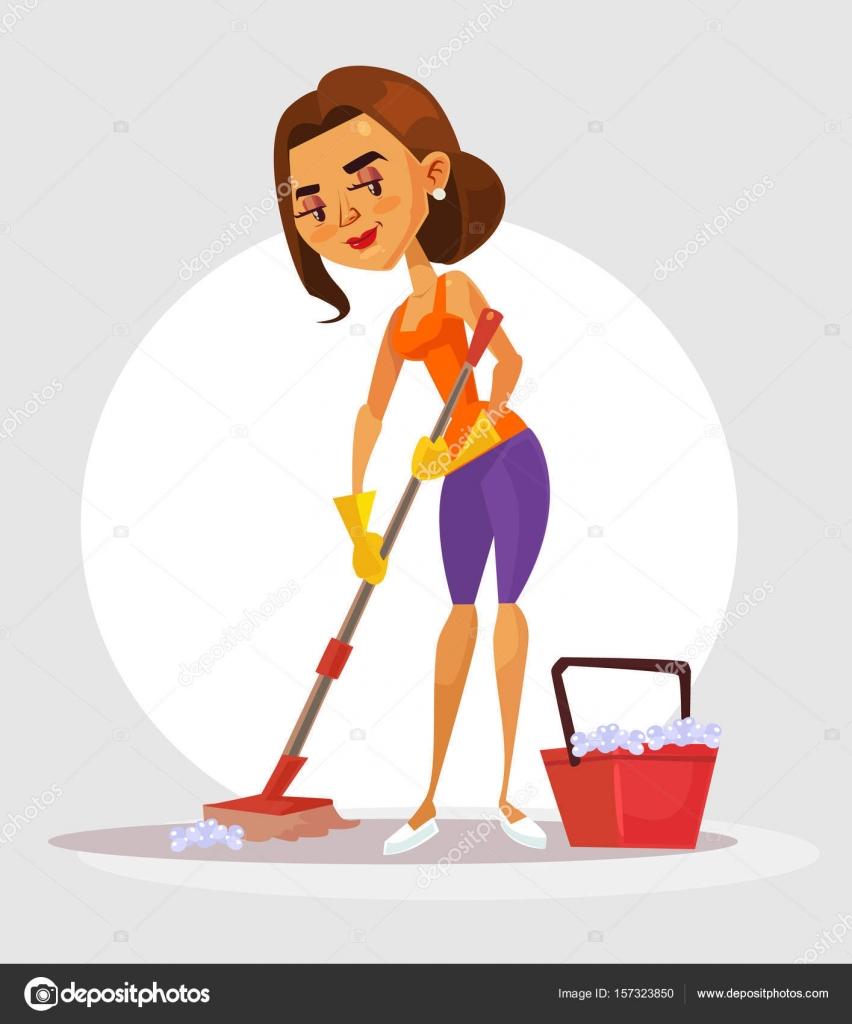 mujer ama de casa personaje tiene fregona y lava el piso ilustraci n de dibujos animados plano. Black Bedroom Furniture Sets. Home Design Ideas