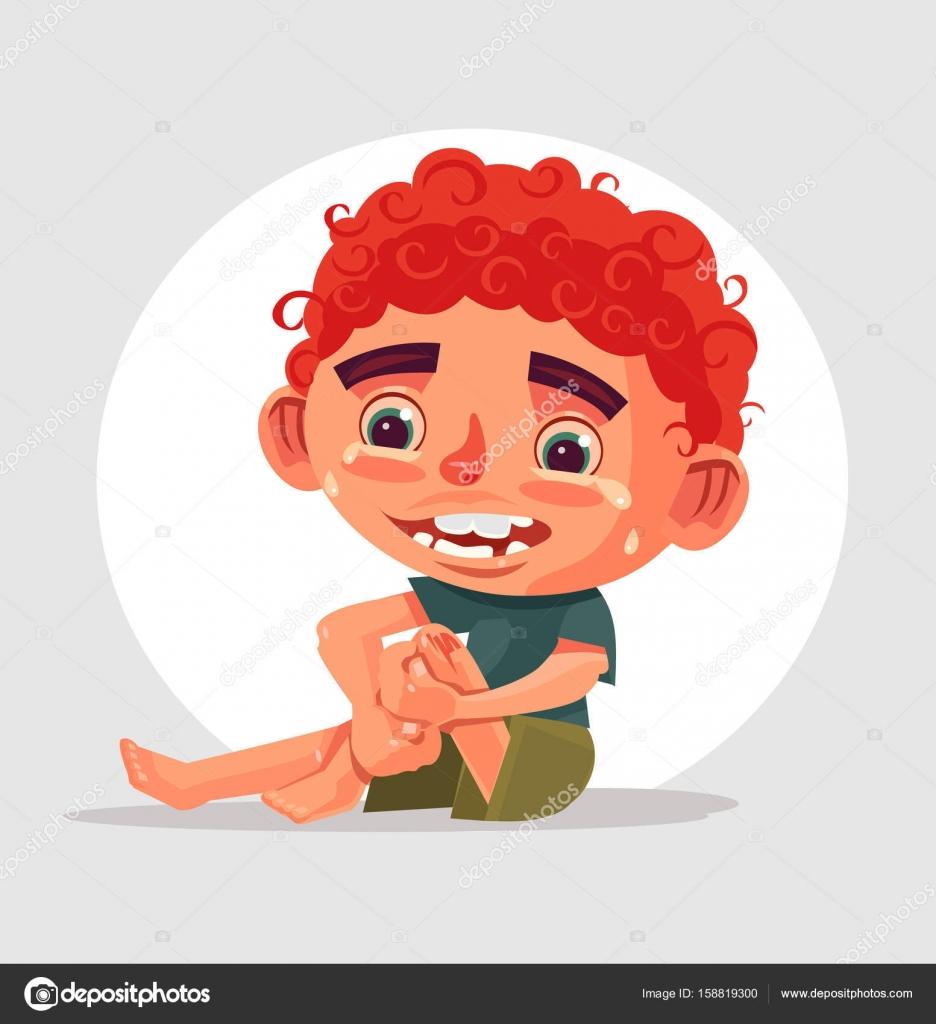 悲しい泣く少年キャラクターが転んでひざを痛めたベクトル フラット