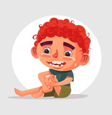 Sad crying little boy character fell and hurt his knee. Vector flat cartoon illustration