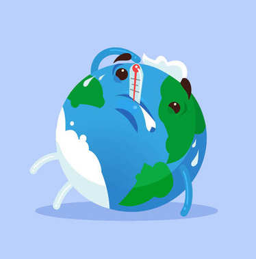 Unhappy tired ill planet Earth character. Global warming concept. Vector flat cartoon illustration