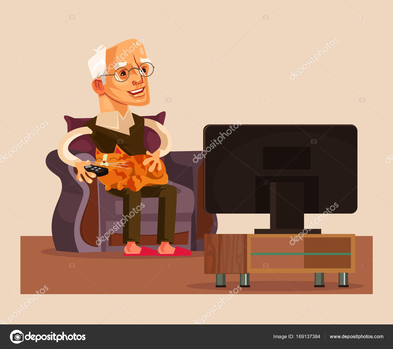 happy smiling old man grandpa watch tv show vector flat cartoon