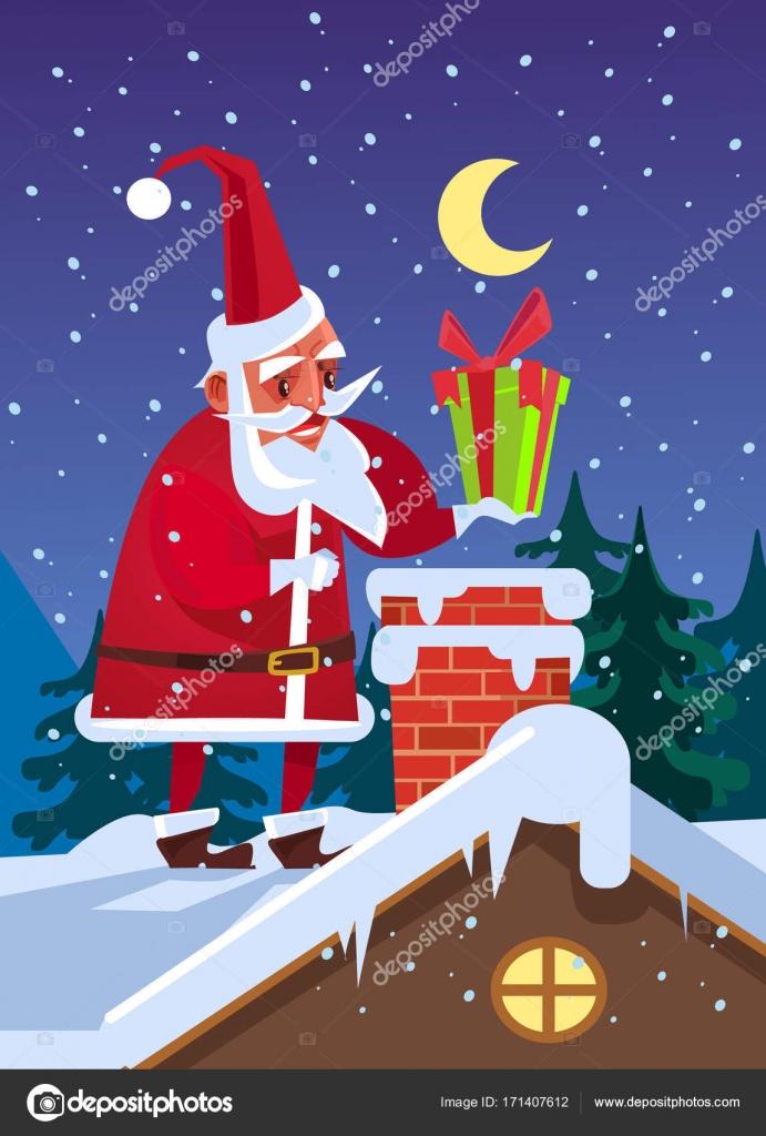 Glücklich lächelnden Weihnachtsmann setzen Geschenkbox im ...