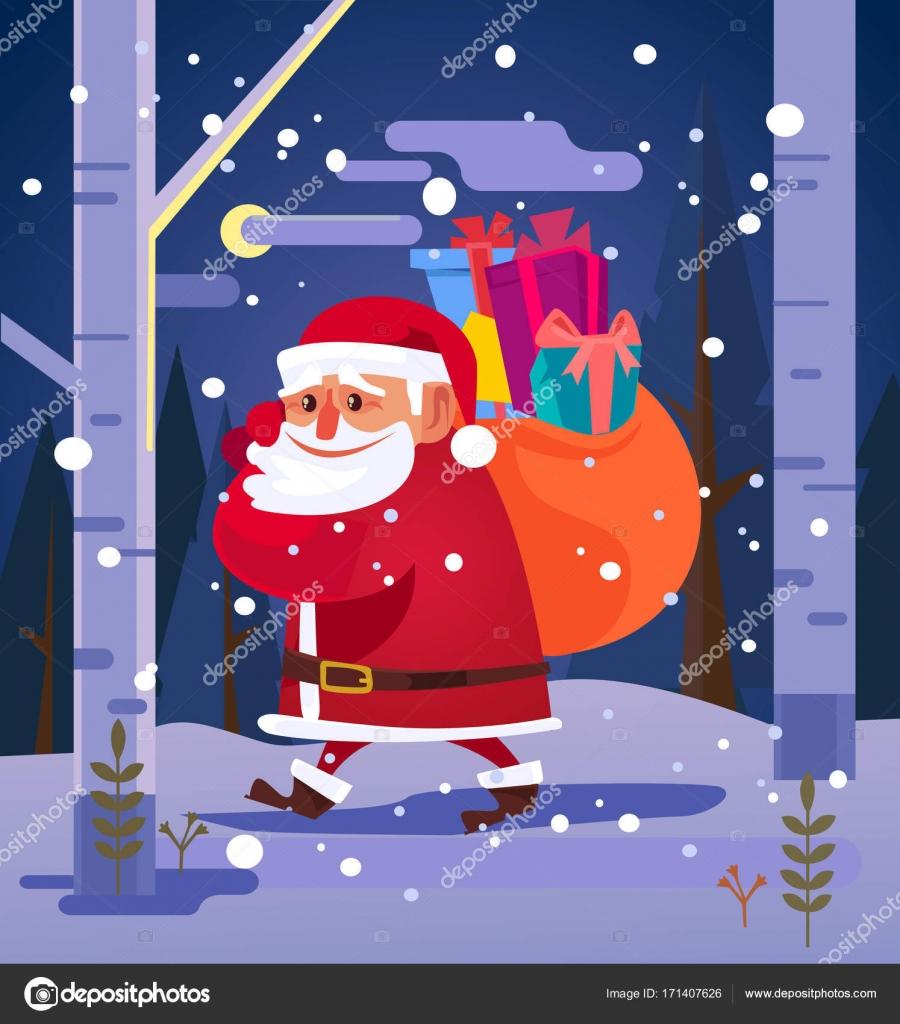 Glücklich lächelnden Weihnachtsmann Wandern in Wald und tragen große ...