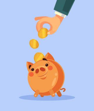 Businessman hand put gold coin in piggy bank. Vector flat cartoon illustration