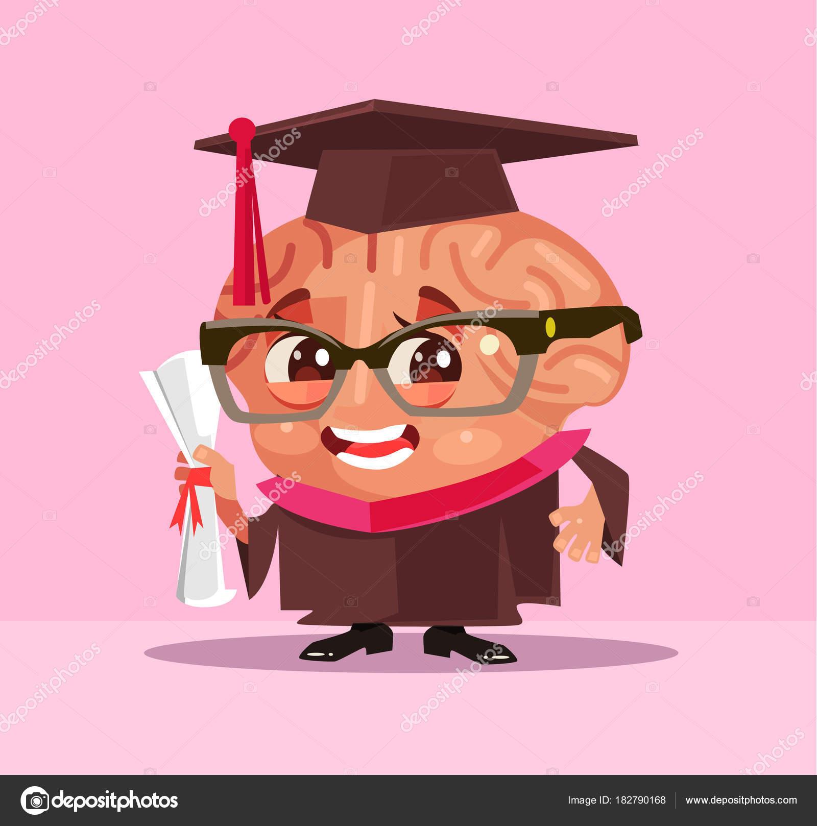 Smart Brain Graduate Student Character Vector Flat Cartoon ... for Smart Cartoon Brain  55jwn