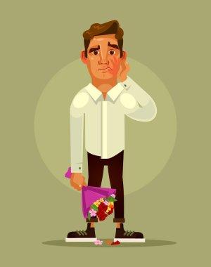 Unsuccessful bad date concept. Vector flat cartoon illustration clip art vector